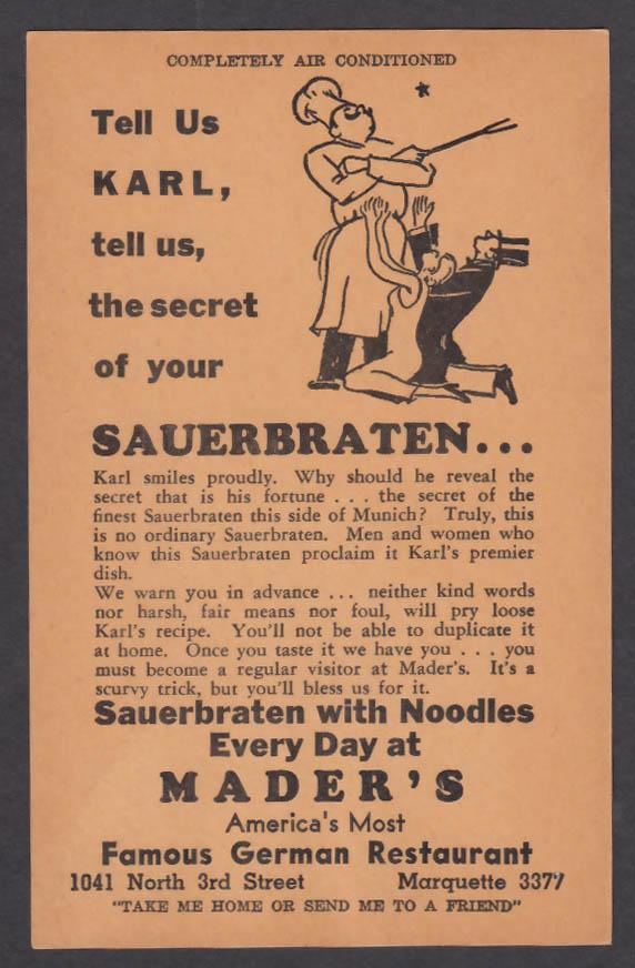 Sauerbraten with Noodles Mader's German Restaurant Milwaukee WI postcard 1940s