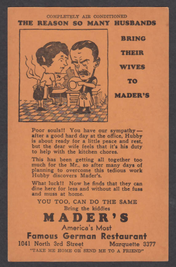 Husbands Bring Wives to Mader's German Restaurant Milwaukee WI postcard 1940s
