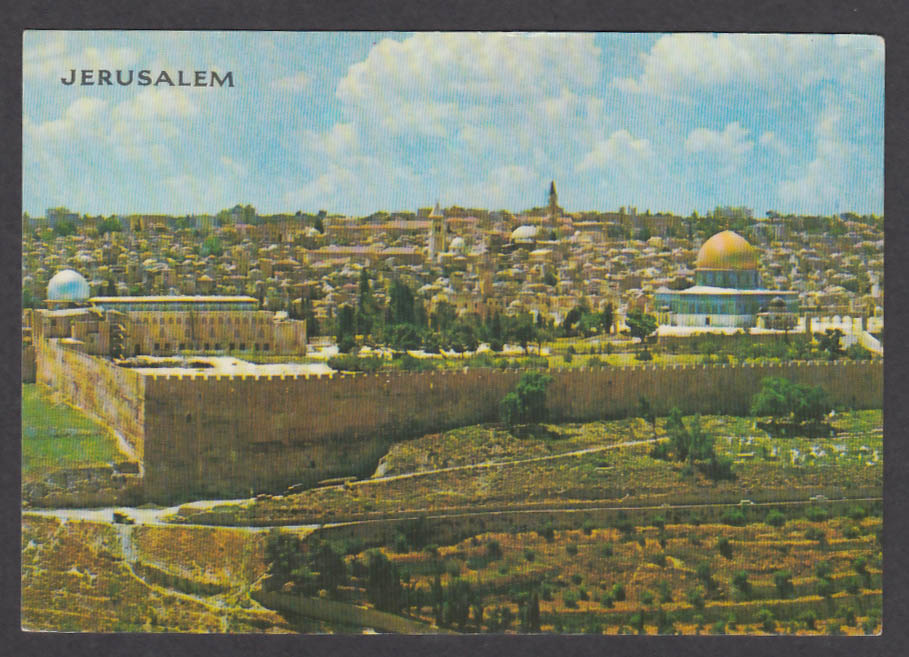 Jerusalem Seen from Mount of Olives Israel postcard 1970s