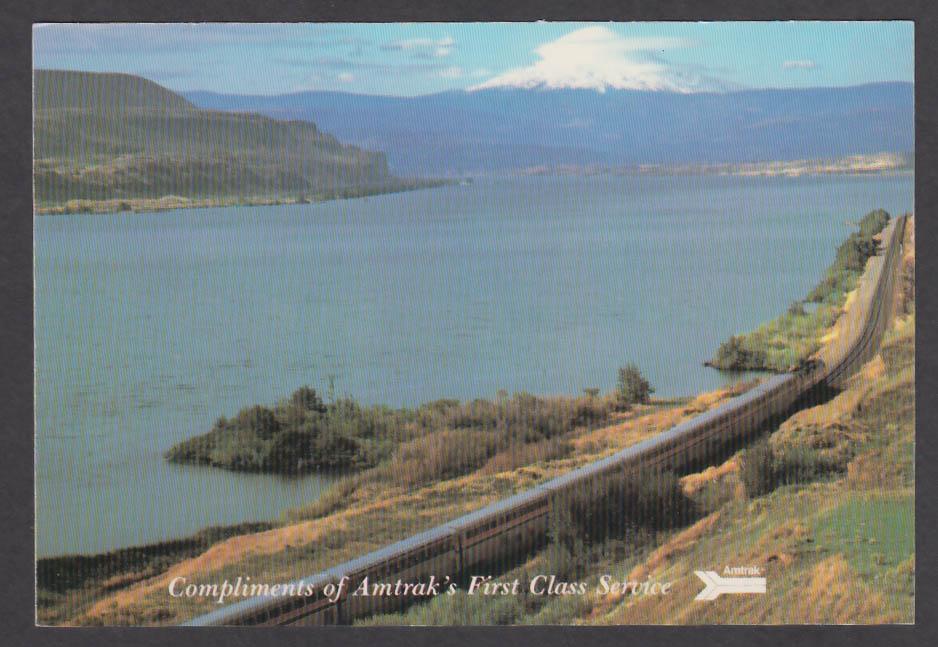 Amtrak First Class Service Pioneer & Portland Empire Builder Mt Hood postcard