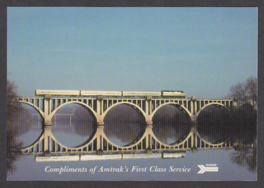 Amtrak First Class Service Colonial Rappahannock River VA postcard 1980s