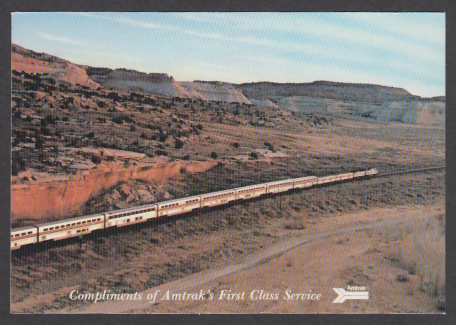 Amtrak First Class Service Southwest Chief postcard 1980s