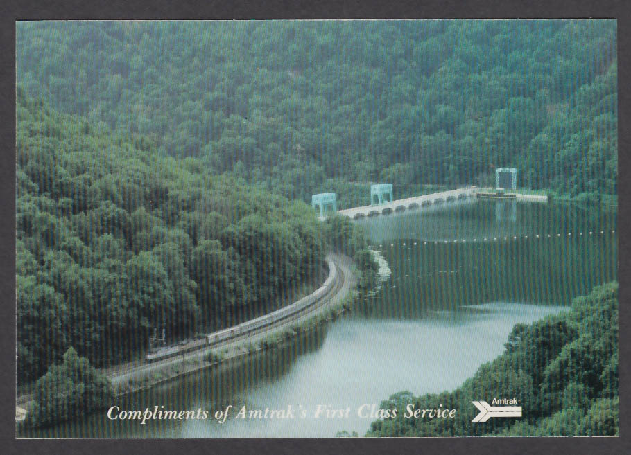 Amtrak First Class Service Cardinal New River Gorge WV postcard 1980s