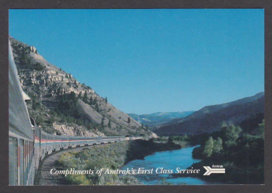 Amtrak First Class Service Truckee River California Zephyr postcard 1980s