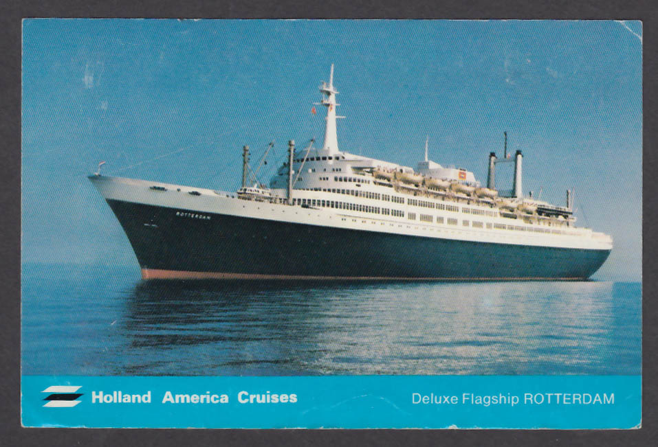 Holland America Cruises Deluxe Flagship Rotterdam postcard 1970s