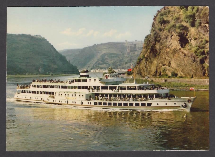 MS Loreley Rhein ferry boat postcard 1970s