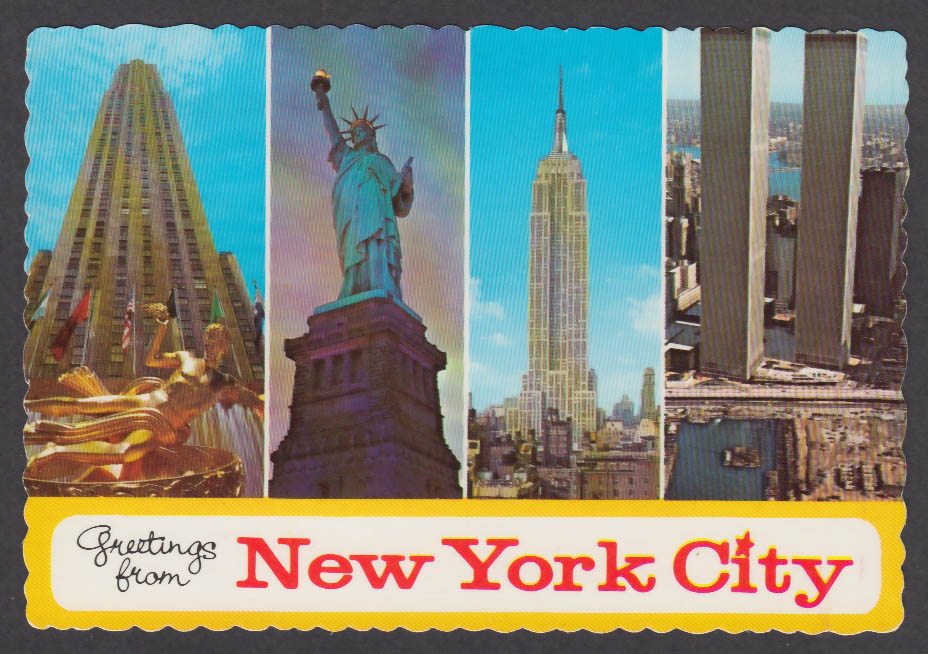Rockefeller Statue of Liberty Empire State World Trade Center NY postcard 1970s