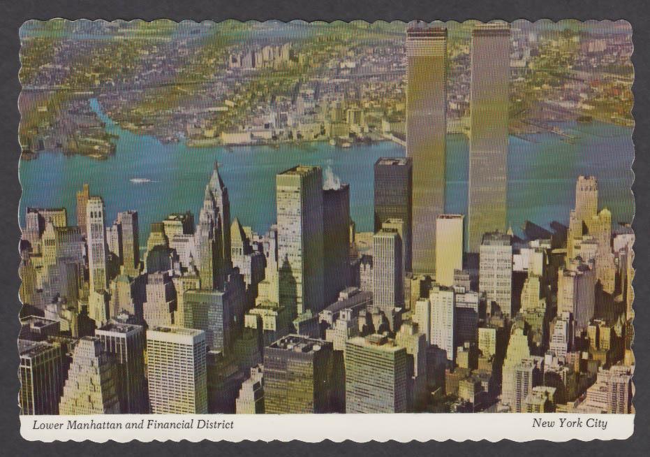 World Trade Center Lower Manhattan Financial District New York NY postcard 1972
