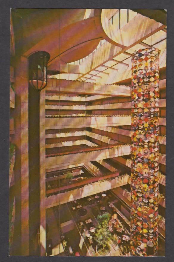 Japanese Kite Mobile Hyatt Regency O'Hare Airport Chicago IL postcard 1970s
