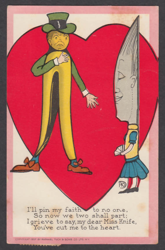 Anthropomorphic Clothespin & Miss Knife Valentine's Day postcard 1908