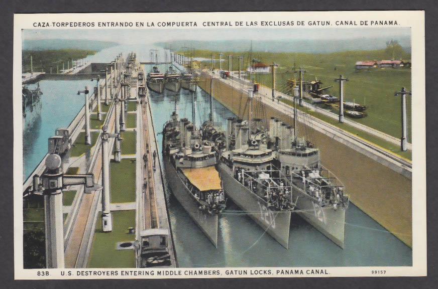 Image for DD-183 USS Haraden DD-120 Radford DD-121 Montgomery Panama Canal postcard 1920s