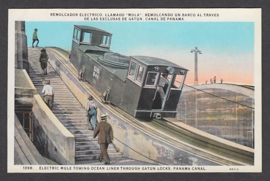 Image for Electric Mule towing Ocean Liner through Gatun Locks Panama Canal postcard 1920s