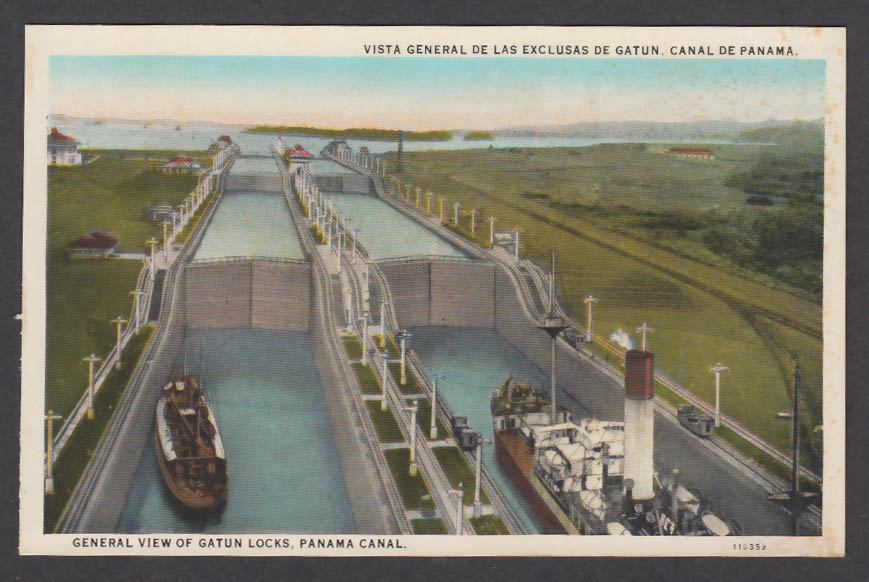 Image for General View of Gatun Locks Panama Canal postcard 1920s