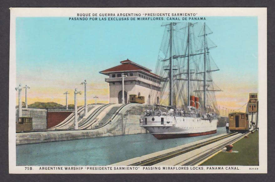 Image for Argentine Warship Presidente Sarmiento Miraflores Locks Panama Canal postcard