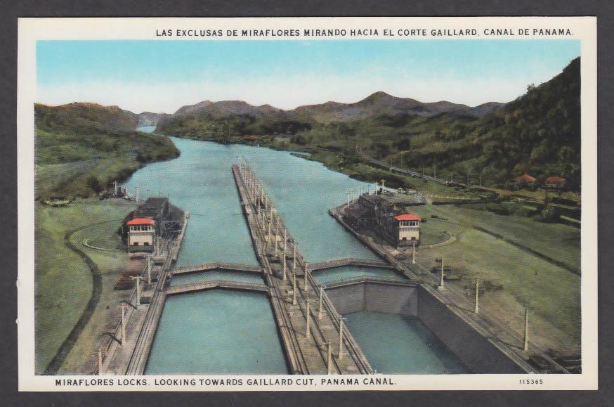 Image for Miraflores Locks looking towards Gaillard Cut Panama Canal postcard 1920s