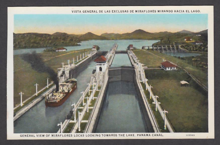 Image for General View of Miraflores Locks looking towards Lake Panama Canal postcard 1920