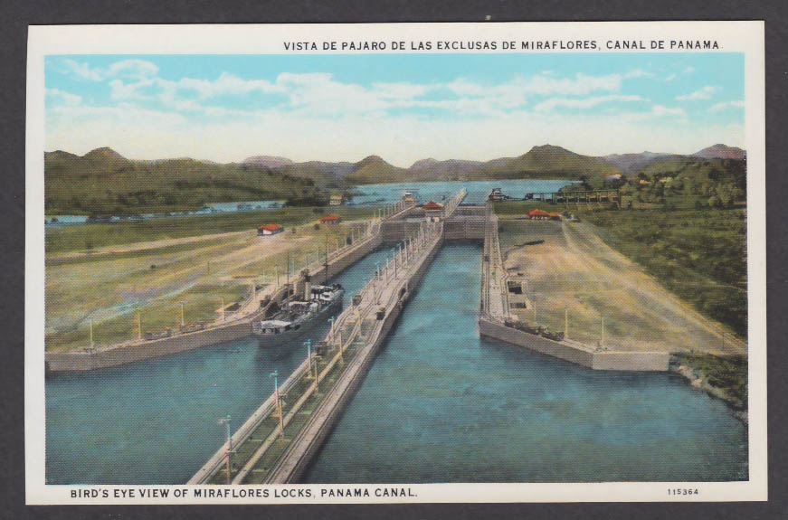 Image for Bird's Eye View of Miraflores Locks Panama Canal postcard 1920s