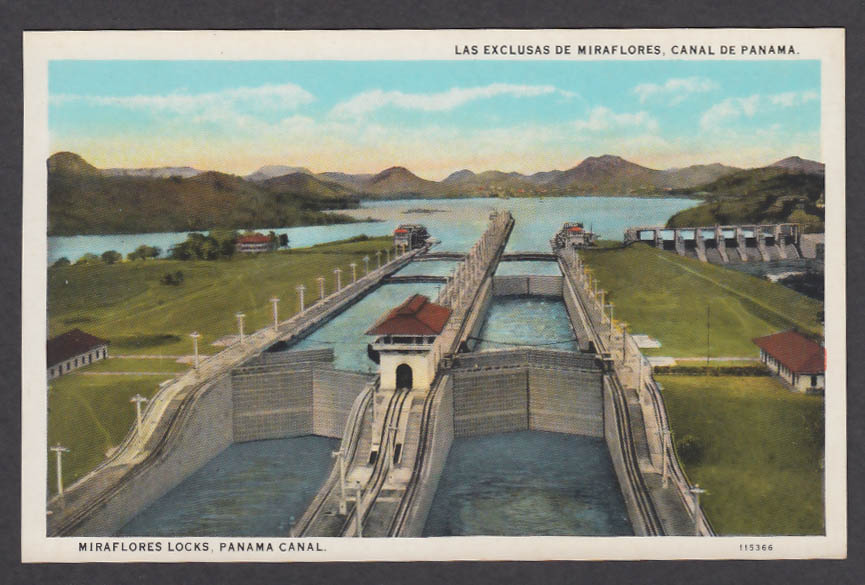 Image for Miraflores Locks Panama Canal postcard 1920s