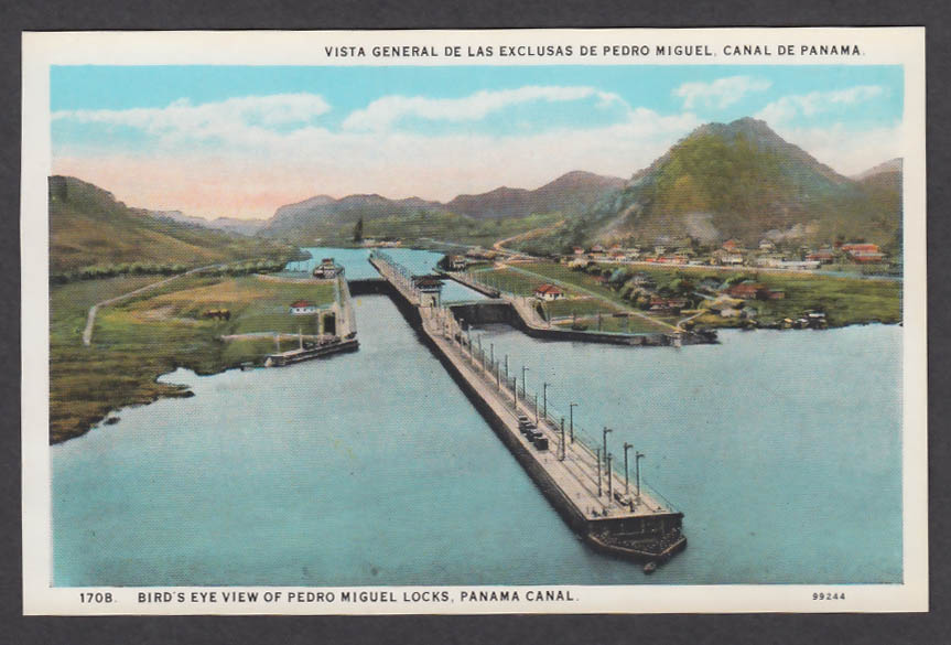 Image for Bird's Eye View of Pedro Miguel Locks Panama Canal postcard 1920s