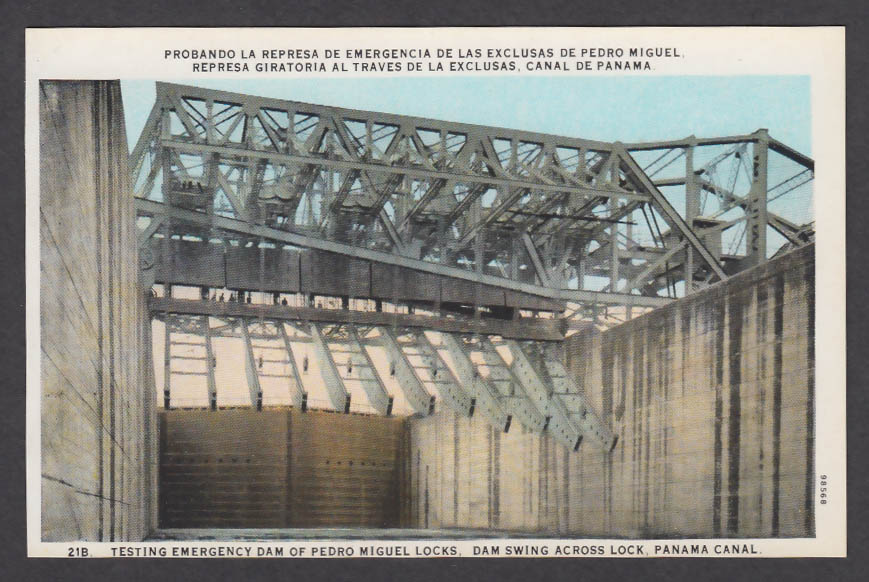 Image for Testing Emergency Dam of Pedro Miguel Locks Panama Canal postcard 1920s