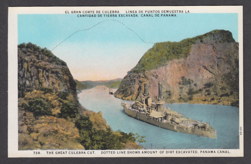 Image for The Great Culebra Cut showing Dirt Excavated Panama Canal postcard 1920s