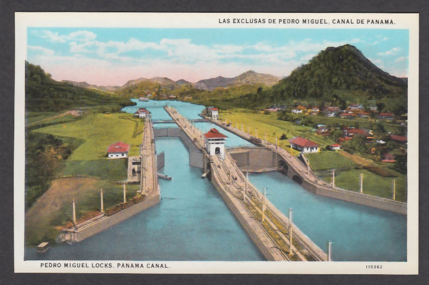 Image for Pedro Miguel Locks Panama Canal postcard 1920s