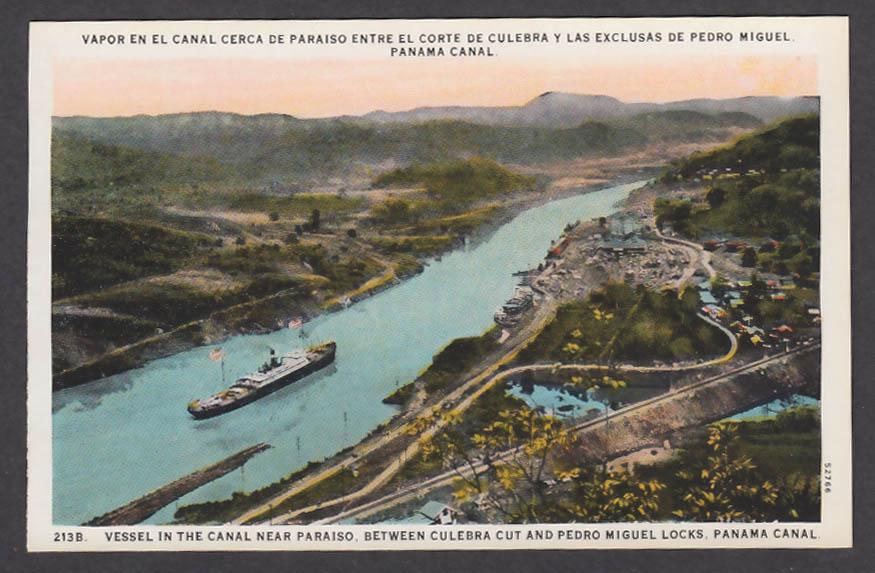Image for Near Paraiso between Culebra & Pedro Miguel Locks Panama Canal postcard 1920s