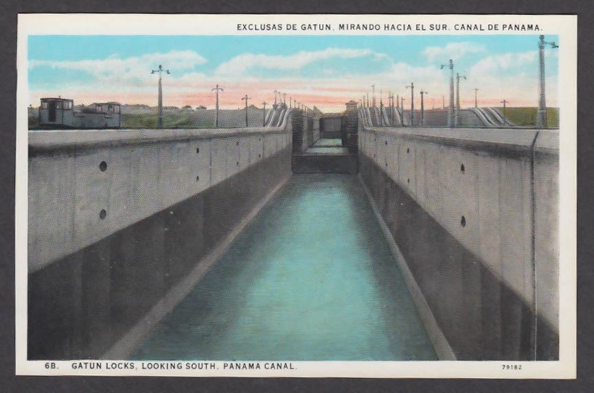 Image for Gatun Locks Looking South Panama Canal postcard 1920s