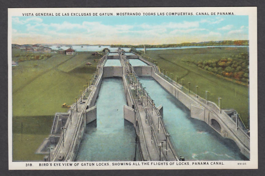 Image for Bird's Eye View Gatun Locks showing All Flights Panama Canal postcard 1920s