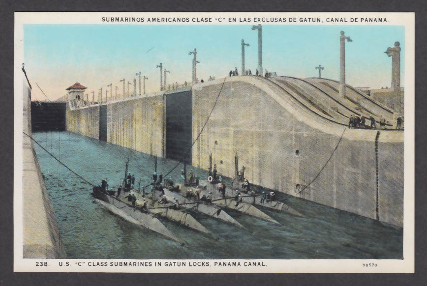 Image for US C-Class Submarines Gatun Locks Panama Canal postcard 1920s