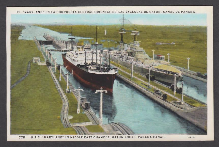 Image for USS Maryland in Middle East Chamber Gatun Locks Panama Canal postcard 1920s