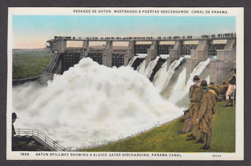Image for Gatun Spillway showing 4 Sluice Gates Panama Canal postcard 1920s