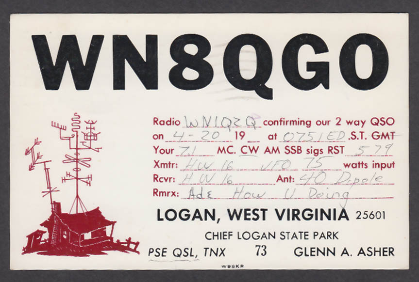 Image for WN8QGO Glenn Asher Logan WV QSL postcard 1974
