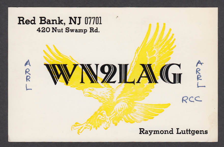 Image for WN2LAG Raymond Luttgens Red Bank NJ QSL postcard 1973