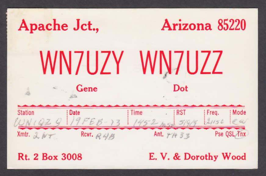 Image for WN7UZY WN7UZZ Dorothy Wood Apache Jct AZ QSL postcard 1973