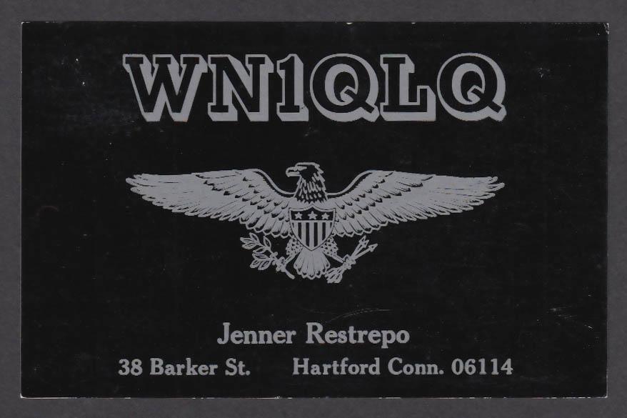 Image for WN1QLQ Jenner Restrepo 38 Barker St Hartford CT QSL postcard 1973