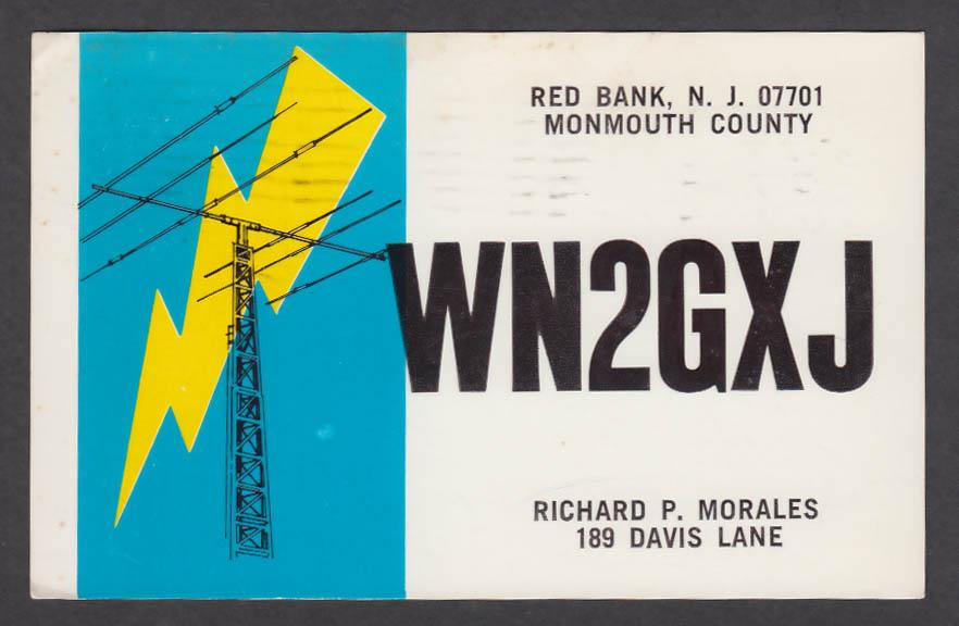 Image for WN2GXJ Richard Morales 189 Davis Lane Red Bank NJ QSL postcard 1974