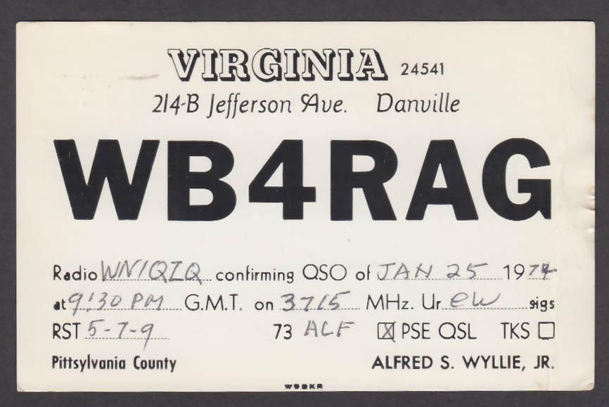 Image for WB4RAG Alfred S Wyllie Danville VA QSL postcard 1979