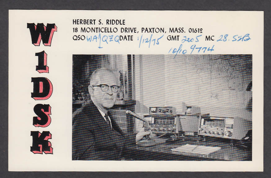 Image for W1DSK Herbert S Riddle 18 Monticello Dr Paxton MA QSL postcard 1975
