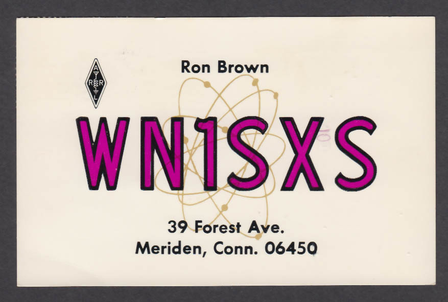 Image for WN1SXS Ron Brown 39 Forest Ave Meriden CT QSL postcard 1974