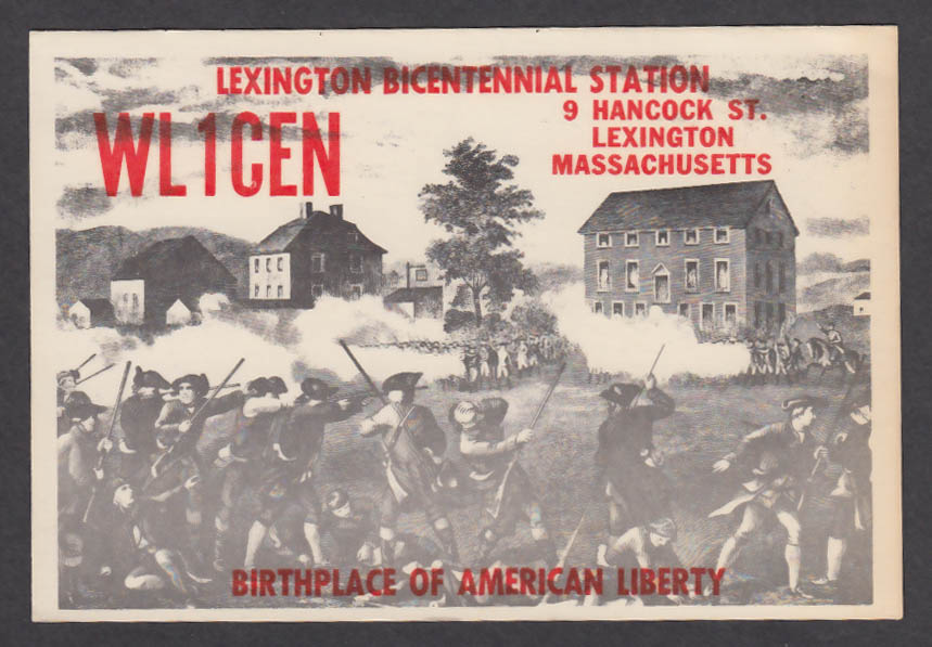 Image for WL1CEN Bicentennial Station 9 Hancock St Lexington MA QSL postcard 1975