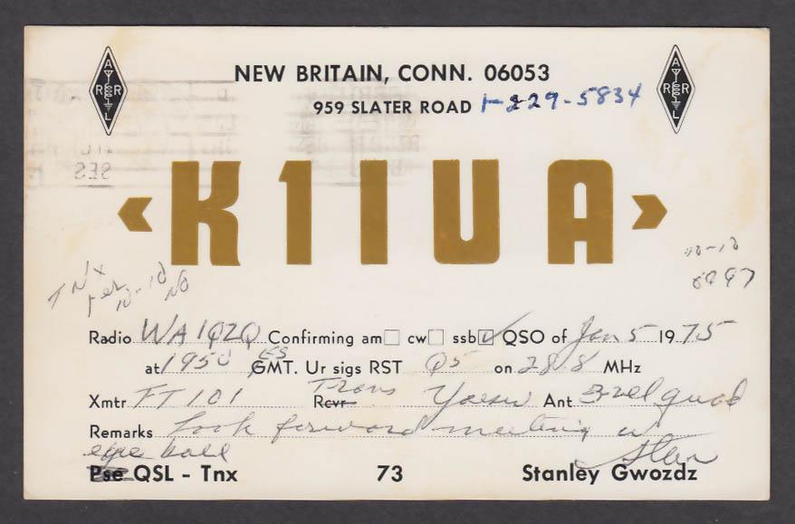 Image for K1IUA Stanley Gwozdz New Britain CT QSL postcard 1975