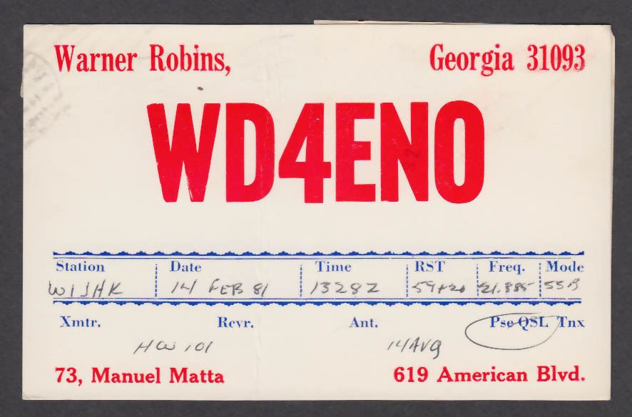 Image for WD4ENO Warner Robins 619 American Blvd GA QSL postcard 1981