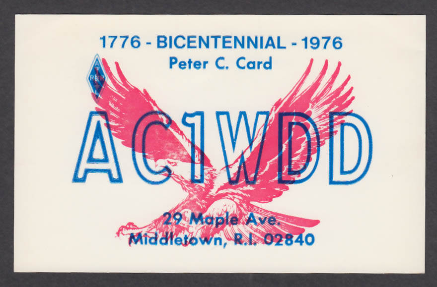 Image for AC1WDD Peter Card 29 Maple Ave Middletown RI QSL postcard 1976