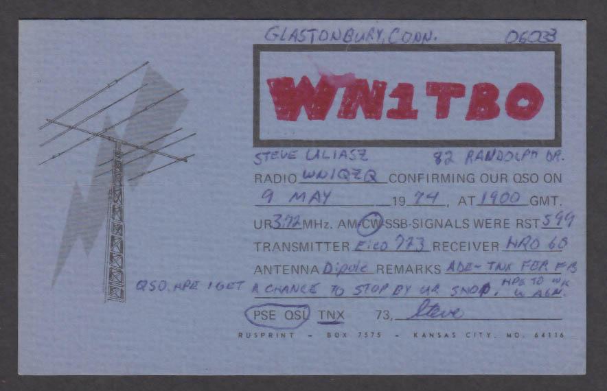 Image for WN1TBO Steve Uliasz Glastonbury CT QSL postcard 1974