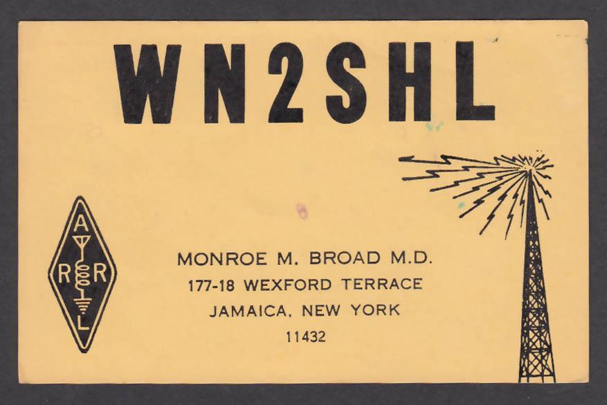 Image for WN2SHL Monroe Broad Jamaica NY QSL postcard 1974