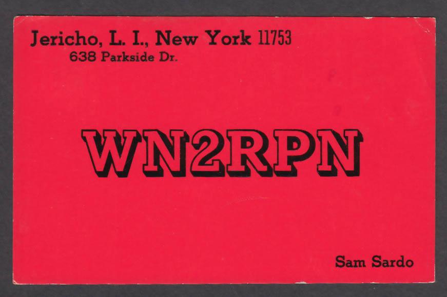 Image for WN2RPN Sam Sardo Jericho Long Island NY QSL postcard 1974