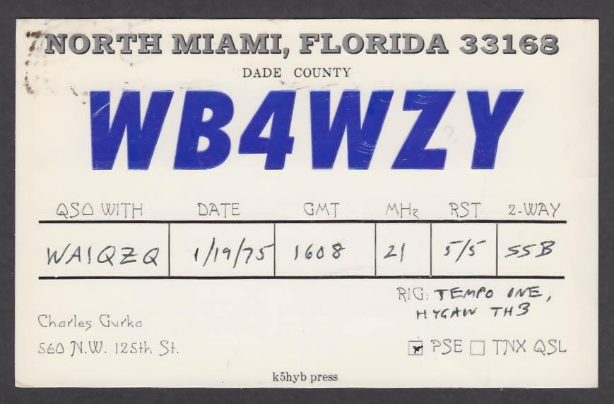 Image for WB4WZY Charles Gurka North Miami FL QSL postcard 1975