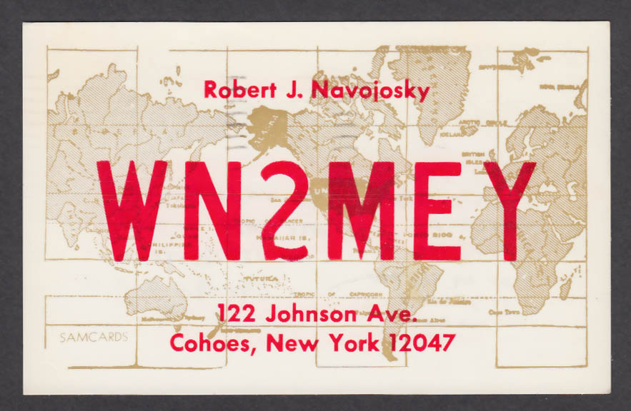Image for WN2MEY Robert Navojosky 122 Johnson Ave Cohoes NY QSL postcard 1974