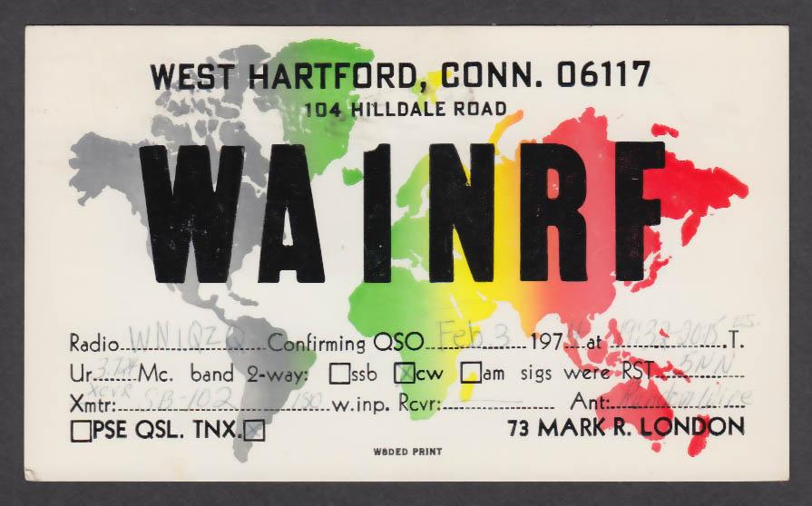 Image for WA1NRF Mark London 104 Hilldale West Hartford CT QSL postcard 1974
